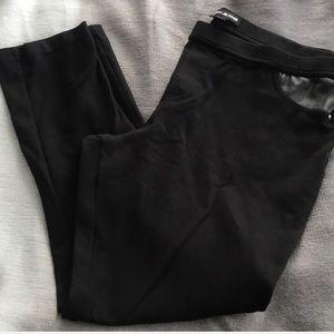 DKNY Black Ponte Pant Legging Pants Leather XL
